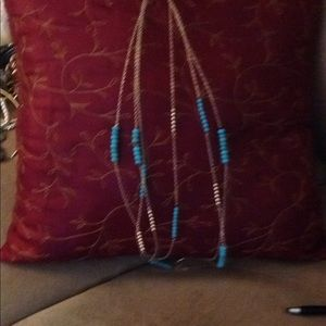 Long blue necklace